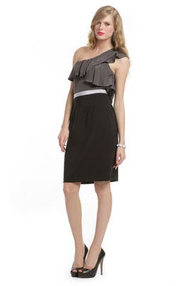 Jay Godfrey - Charcoal Colorblock Ruffle Dress