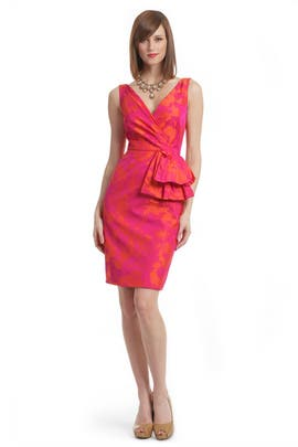 Lela Rose - Fuchsia Floral Tafetta Dress