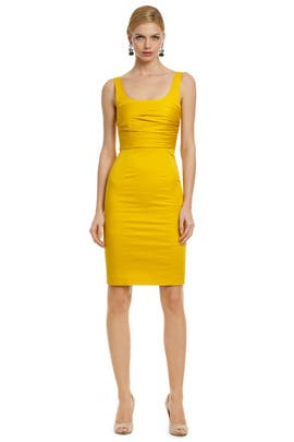 Moschino Cheap And Chic - Yellow Rose Bodice Dress