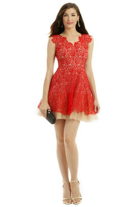 nha khanh - Red Lace Dahlia Dress