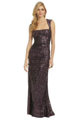 Nicole Miller - Sequin Tyrian Purple Gown