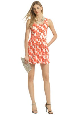Shoshanna - Citrus Tribal Flare Dress
