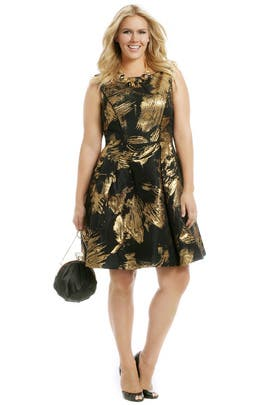 Theia - Gold Whirlwind Dress