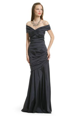 Theia - Navy Taffeta Ruched Gown