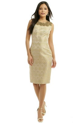 Vera Wang - Beaded Brocade Dress