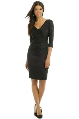 Vera Wang - Midnight Metallic Weave Dress