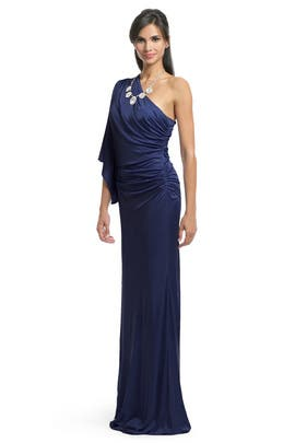 Yigal Azrouël - Navy Batwing Draped Gown