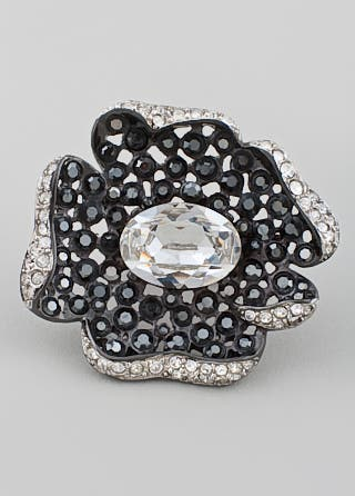 Kenneth Jay Lane Gunmetal Flower Ring
