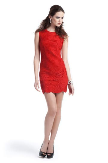 Robert Rodriguez Crimson Scalloped Dress