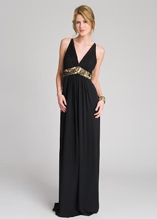 Sequin Trim Empire Gown