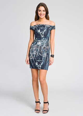 Helmut Lang Off-Shoulder Foil Print Dress