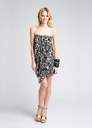 Alice + Olivia Jayden Strapless Side Drape Dress