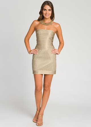 Herve Leger Gold Glimmer Strapless Dress