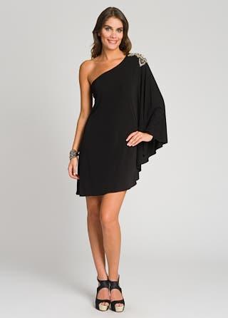 Winged Embellished Shoulder  Dress