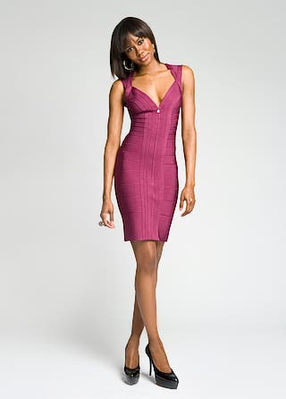 Deep Zipped-up Bandage Dress