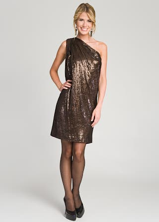 Badgley Mischka One Shoulder Sequin Sack Dress