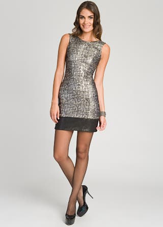Christian Siriano Silver Tweed Metallic Sheath