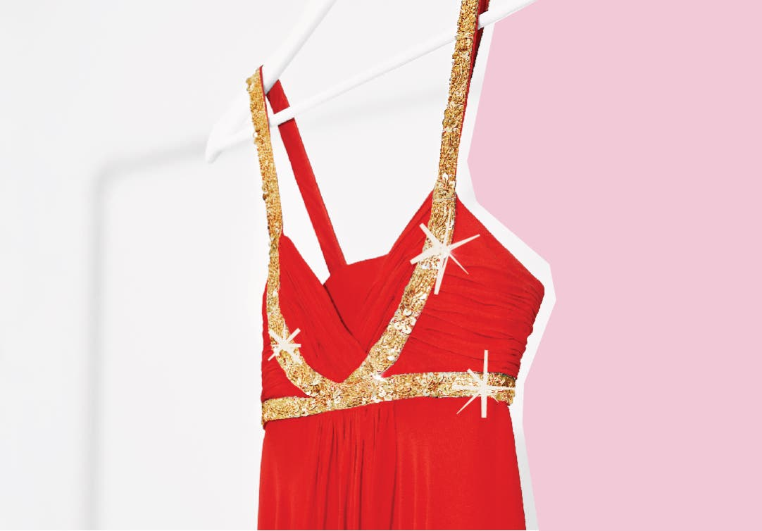 Red dress with sparkly gold sash