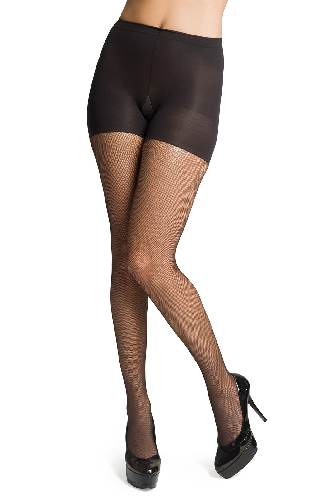 Black Micro Fish Net Tights by Spanx