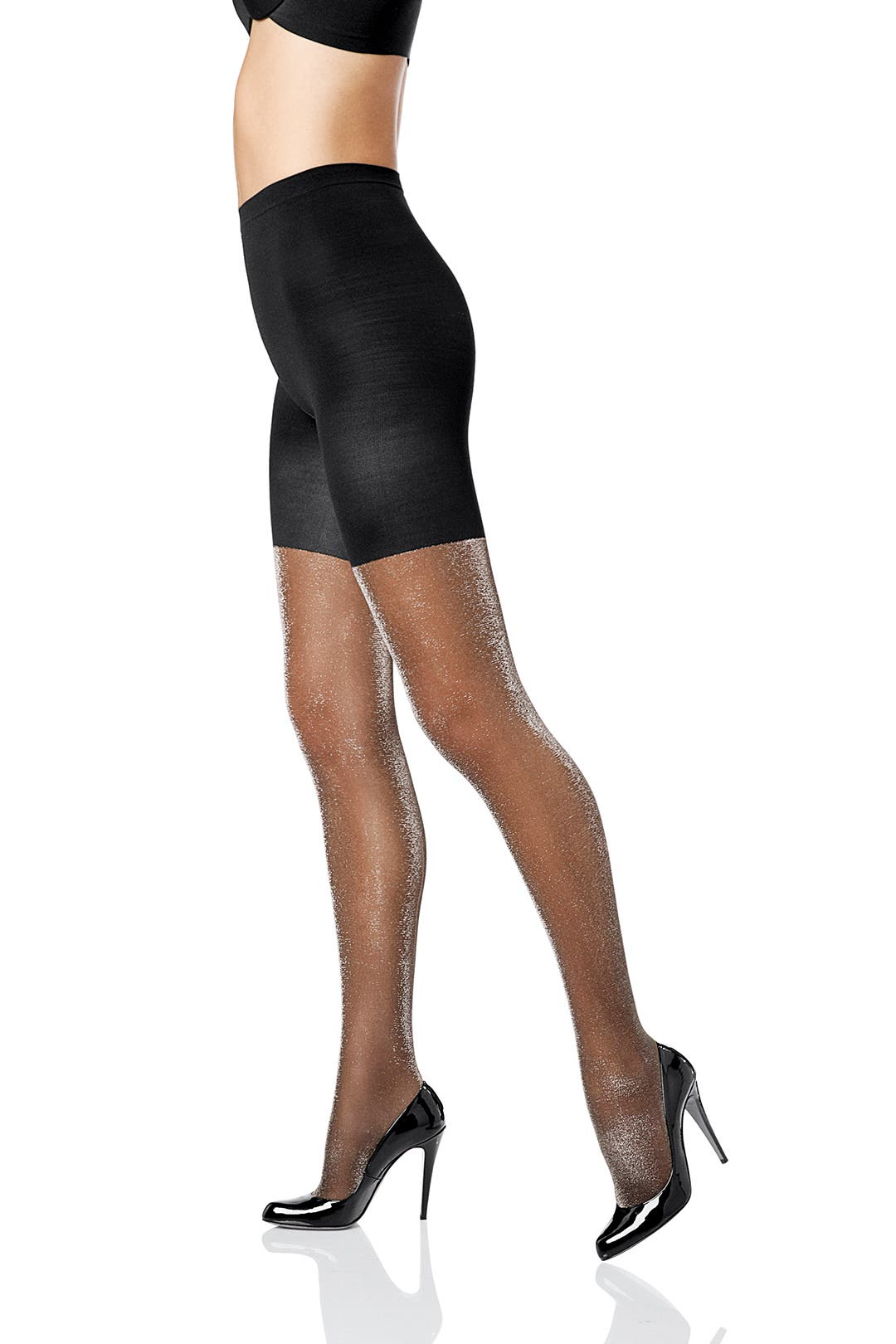 Metallic Luxe Tight End Tights in Black Silver by Spanx