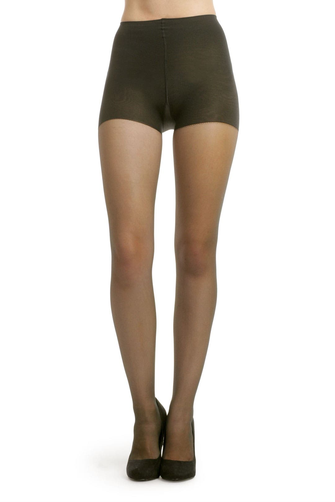 Black Sheer Tights with Control Top by Hue
