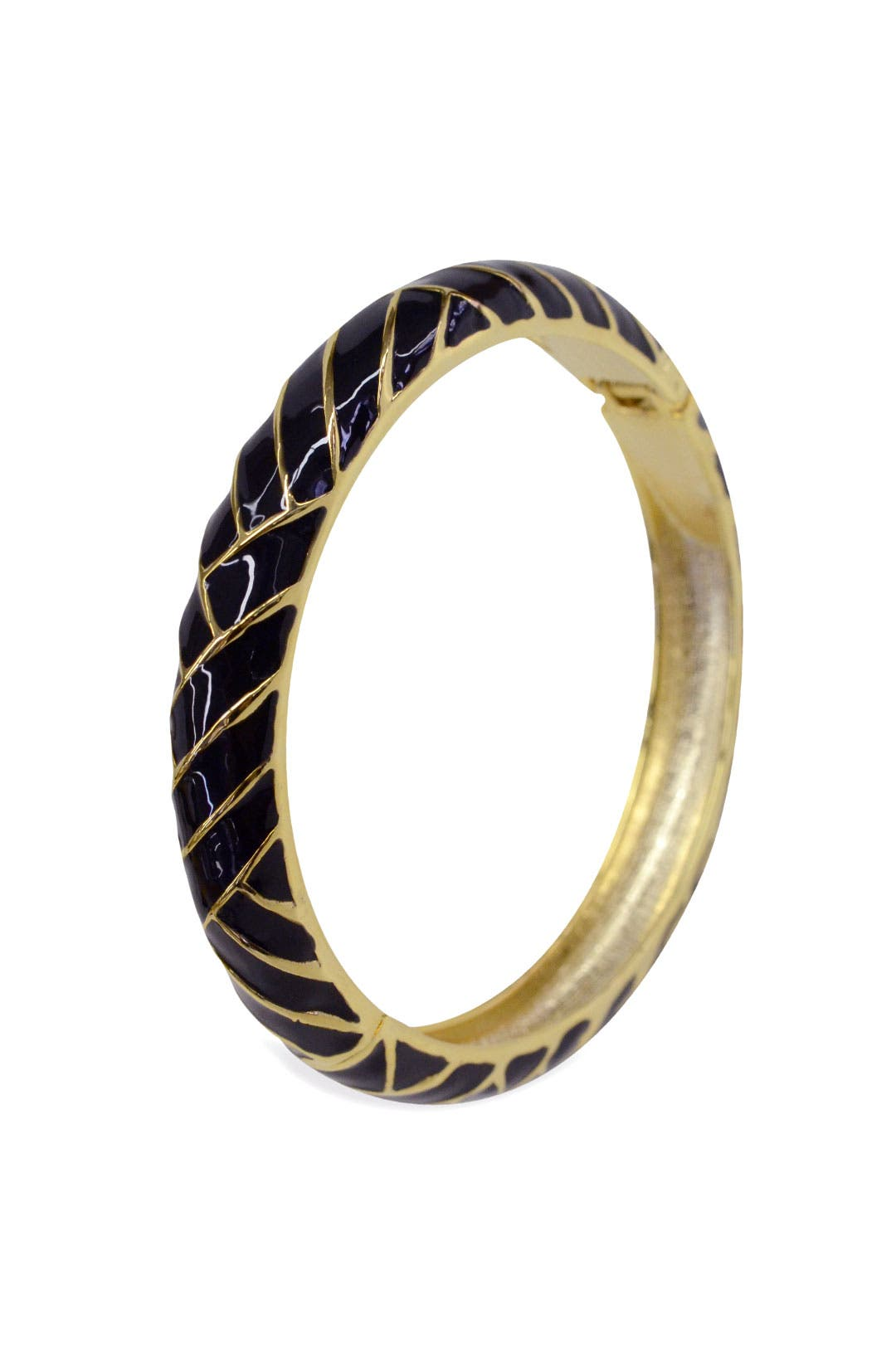 Black Herringbone Bangle by Cinder & Charm