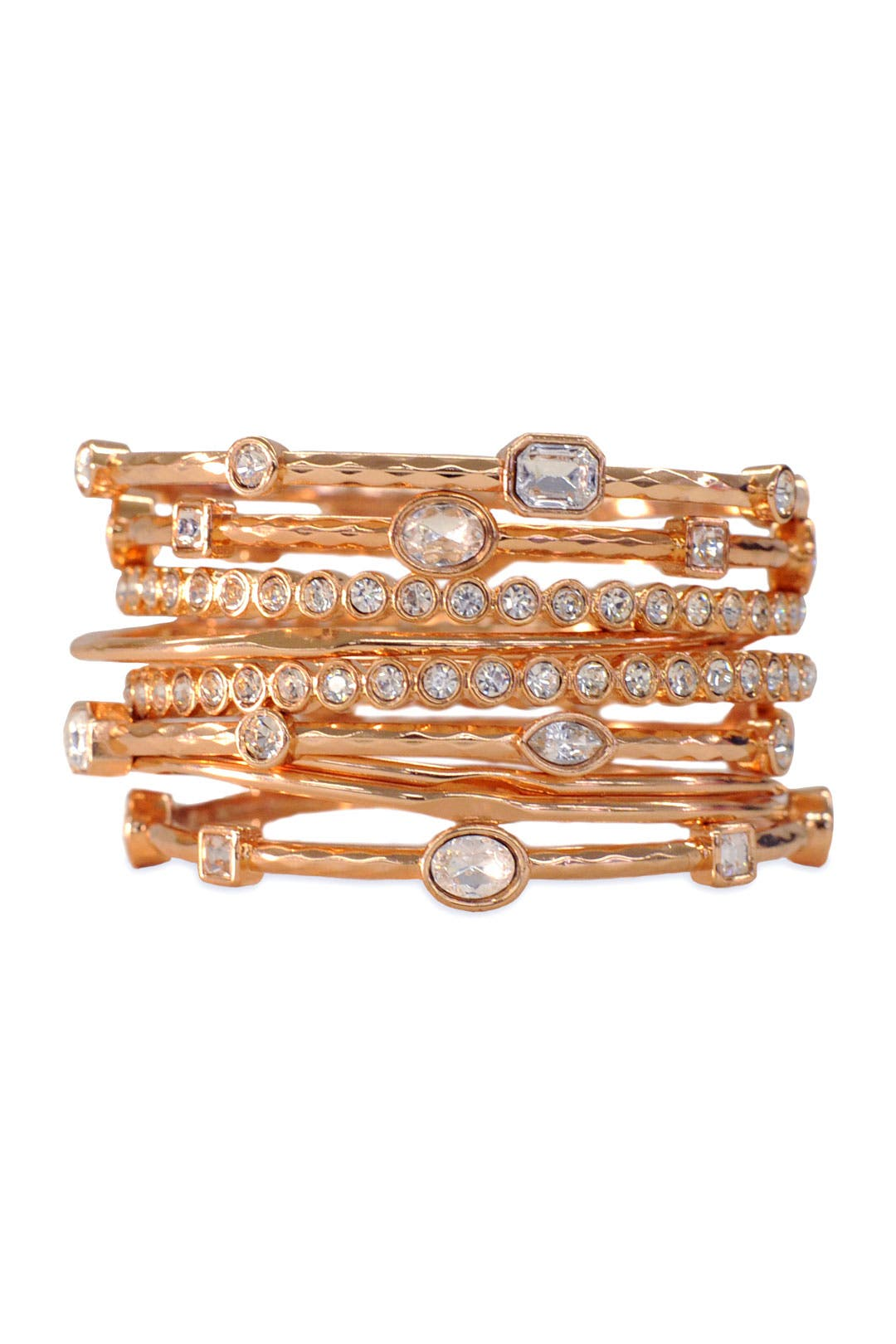 Rose Gold Scalloped Bangle Set by RJ Graziano