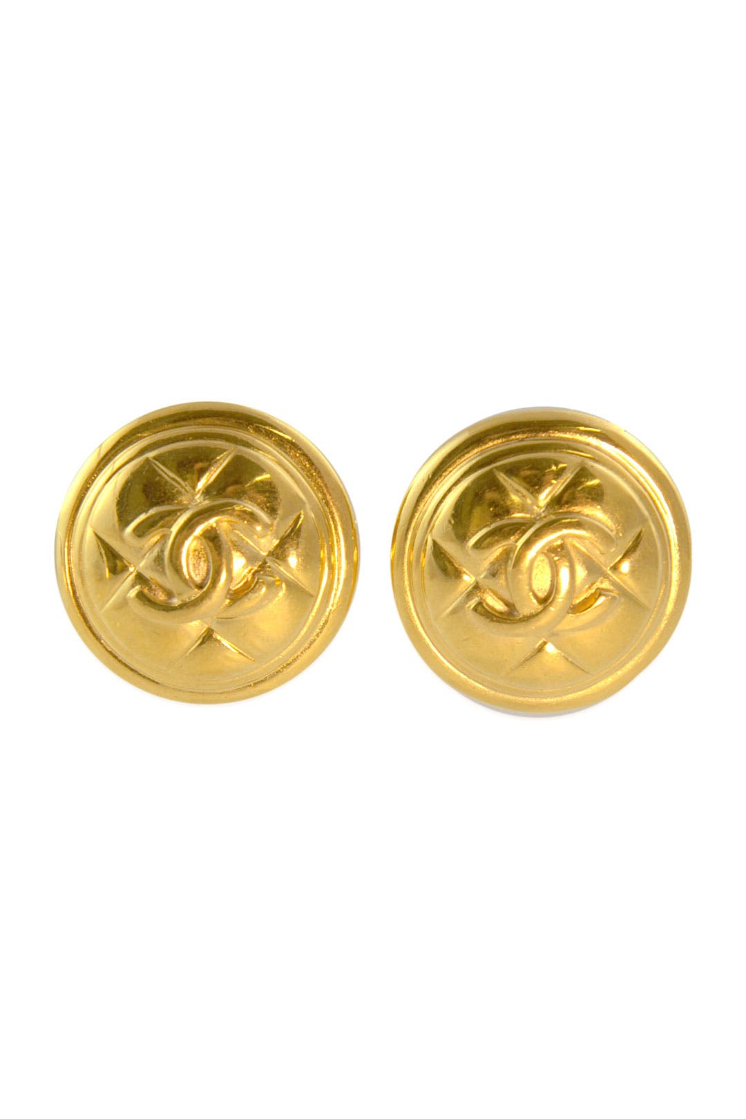 Vintage Chanel Quilted Shield Earrings by WGACA Vintage