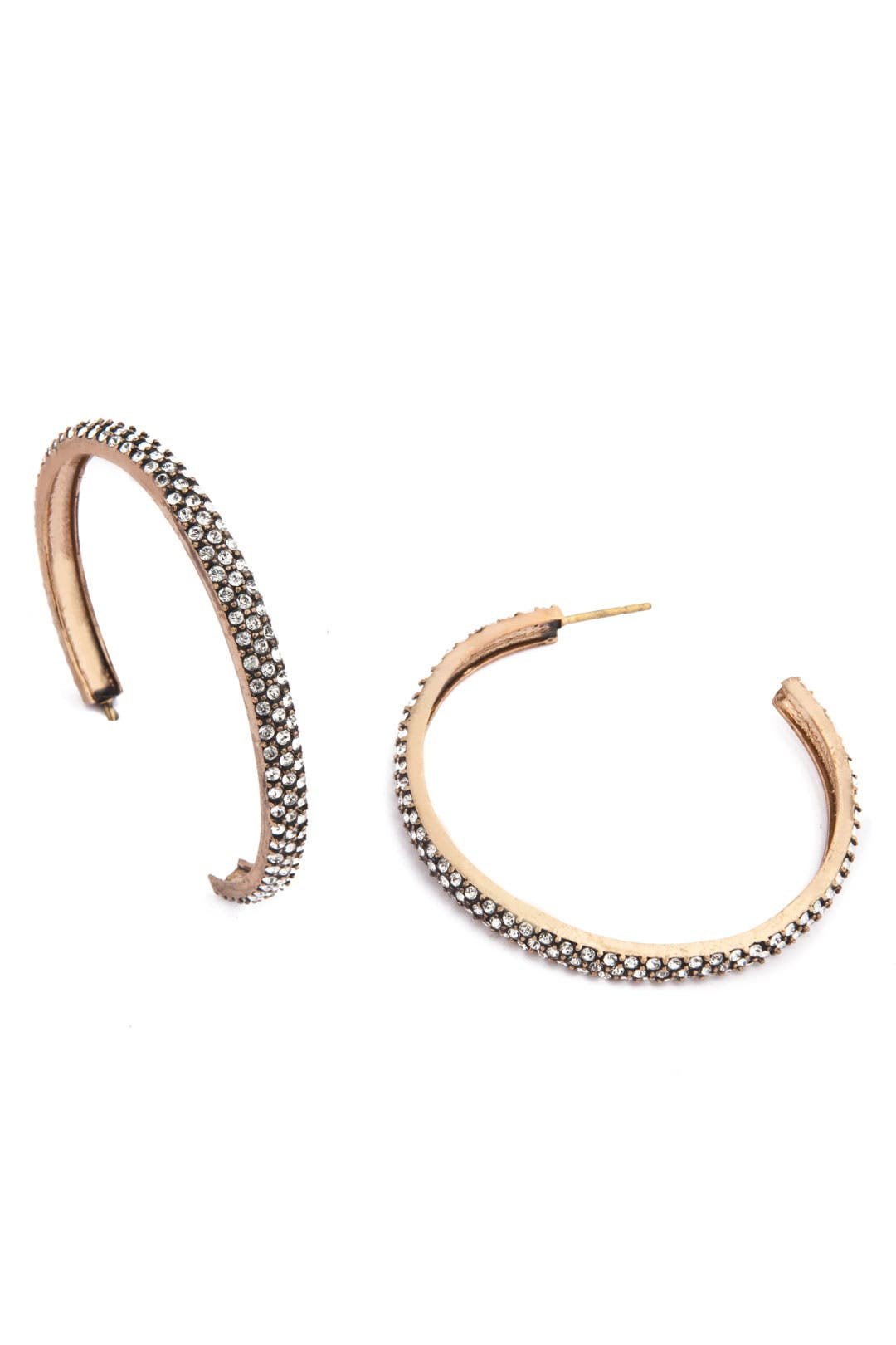 Gold Crystal Hoop Earrings by Azaara