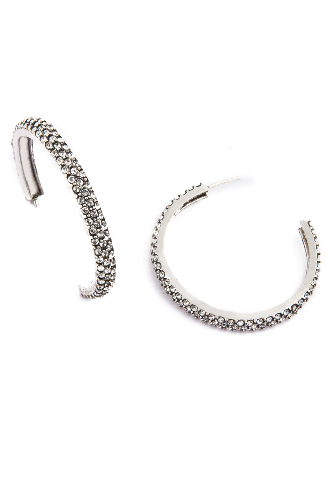 Silver Crystal Hoop Earrings by Azaara