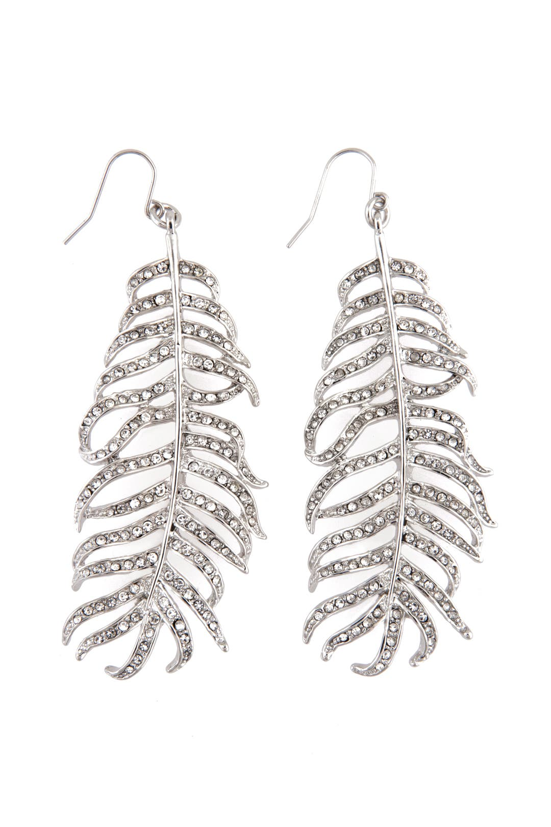 Silver Crystal Feather Earrings by CC Skye