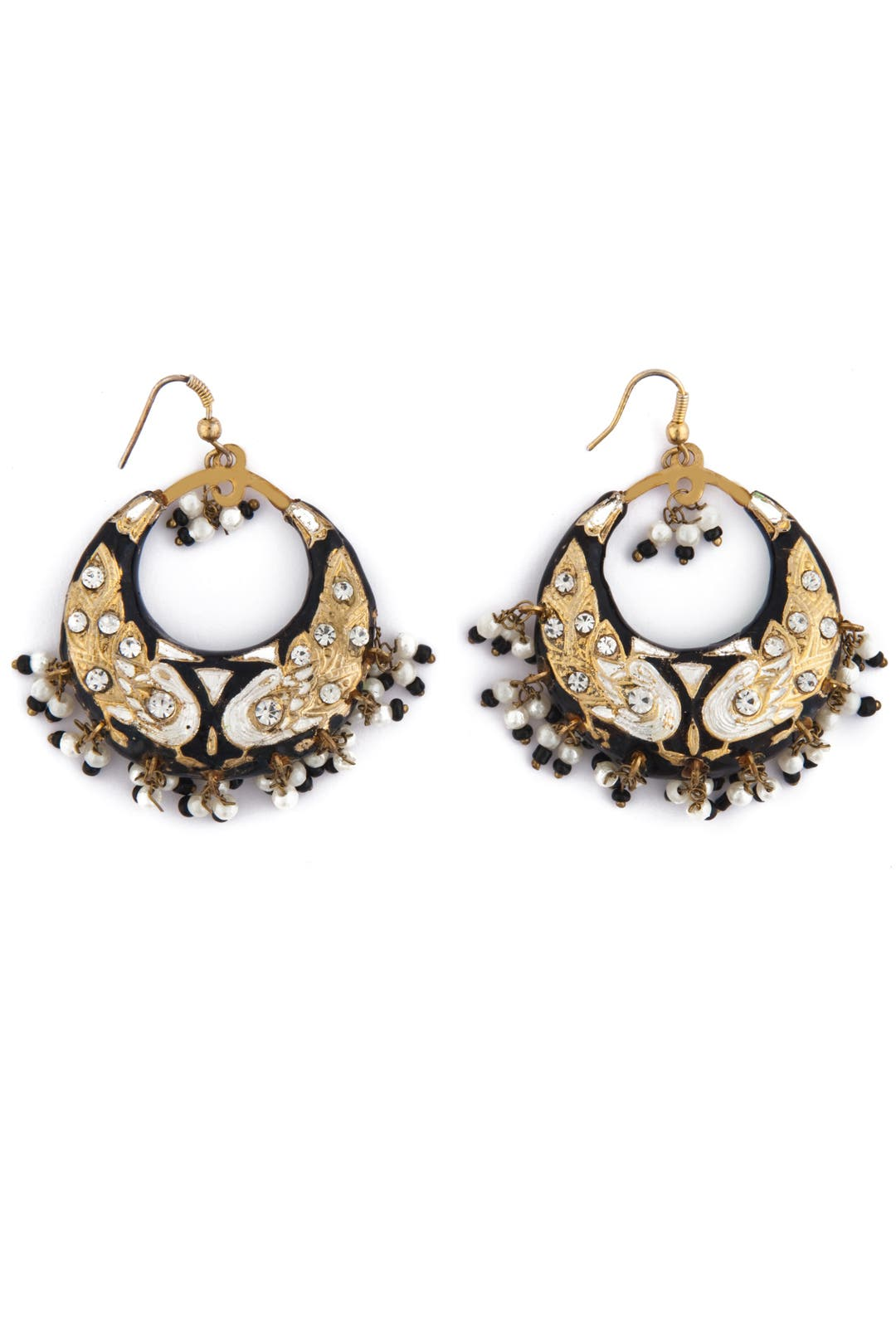Black Moon Earrings by Chamak by Priya Kakkar