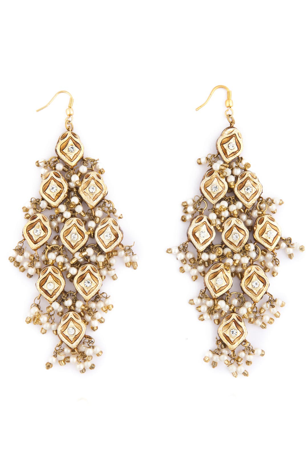 Gold Tiered Earrings by Chamak by Priya Kakkar