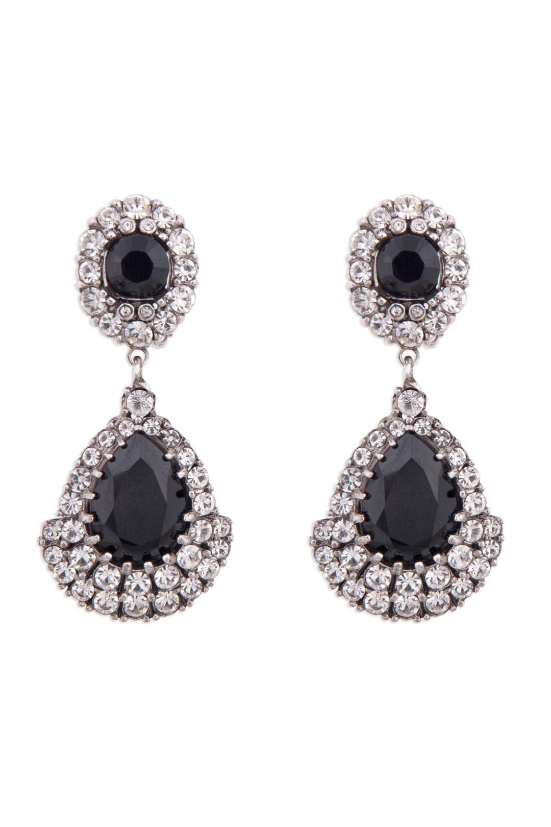 Black Crystal Drop Earrings by Ciner