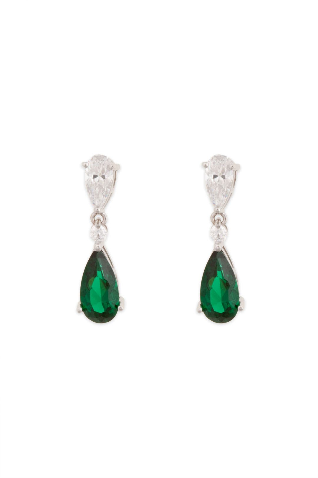 Emerald Tear and Crystal Drop Earrings by Crislu