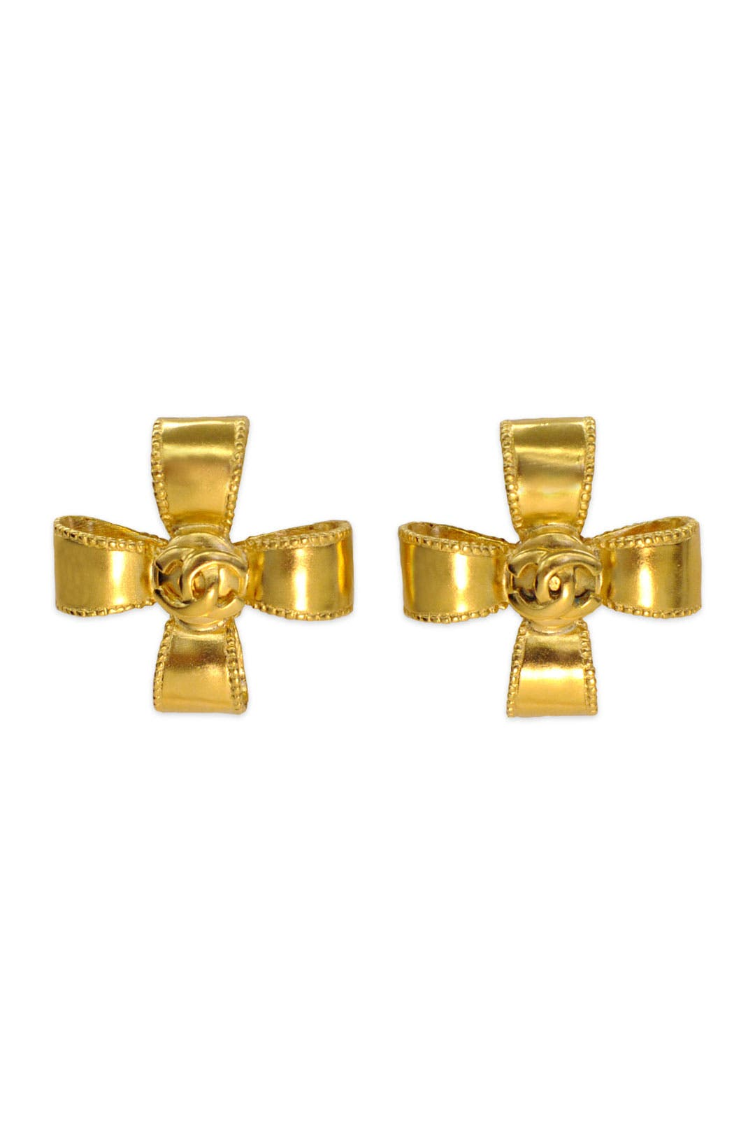 Vintage Chanel Cross Ribbon Earrings by Decades Vintage