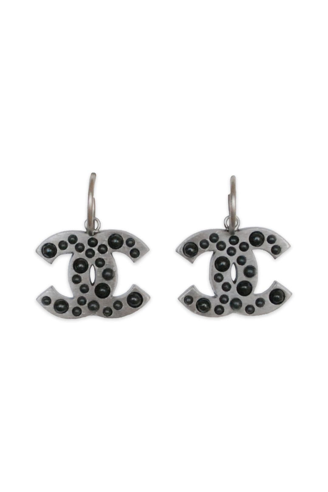 Vintage Chanel Pewter CC Dangle Earring by Decades Vintage