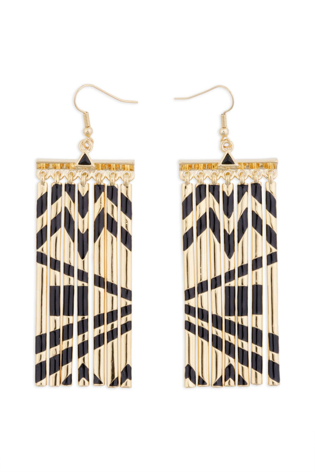 Gold Metal Fringe Earrings by House of Harlow 1960