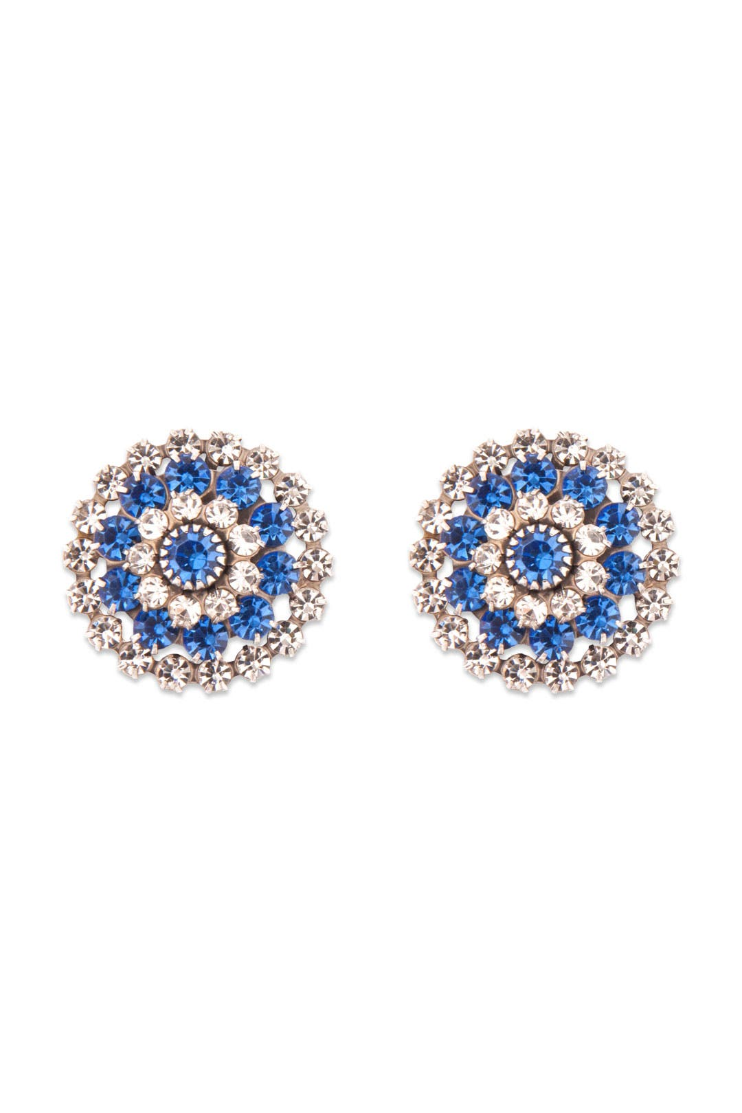 Crystalized Blue Mum Earrings by Janis Savitt