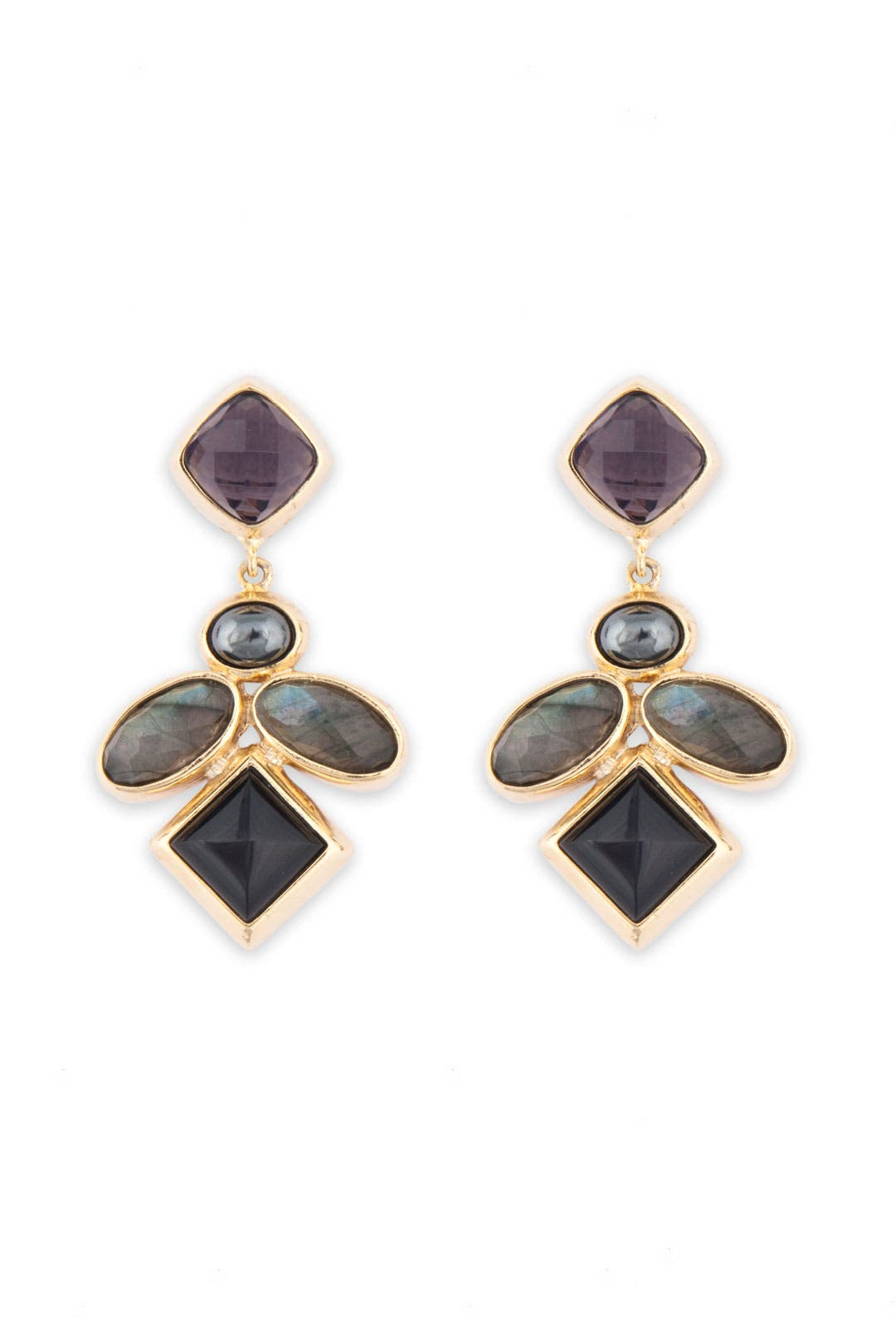 Multi Stone Geo Earrings by Kara Ross