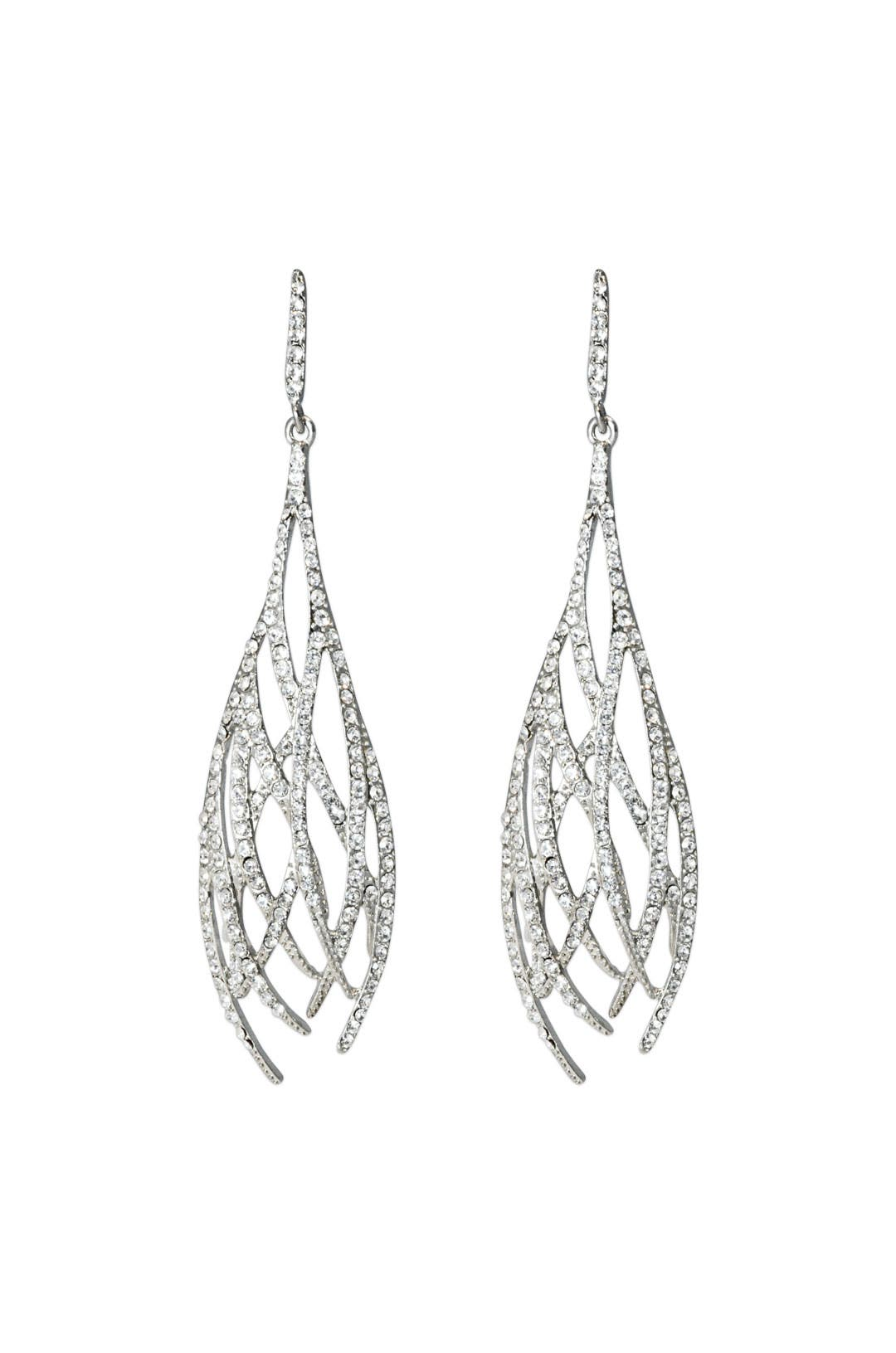 Silver Pave Weave Earrings by Kenneth Jay Lane