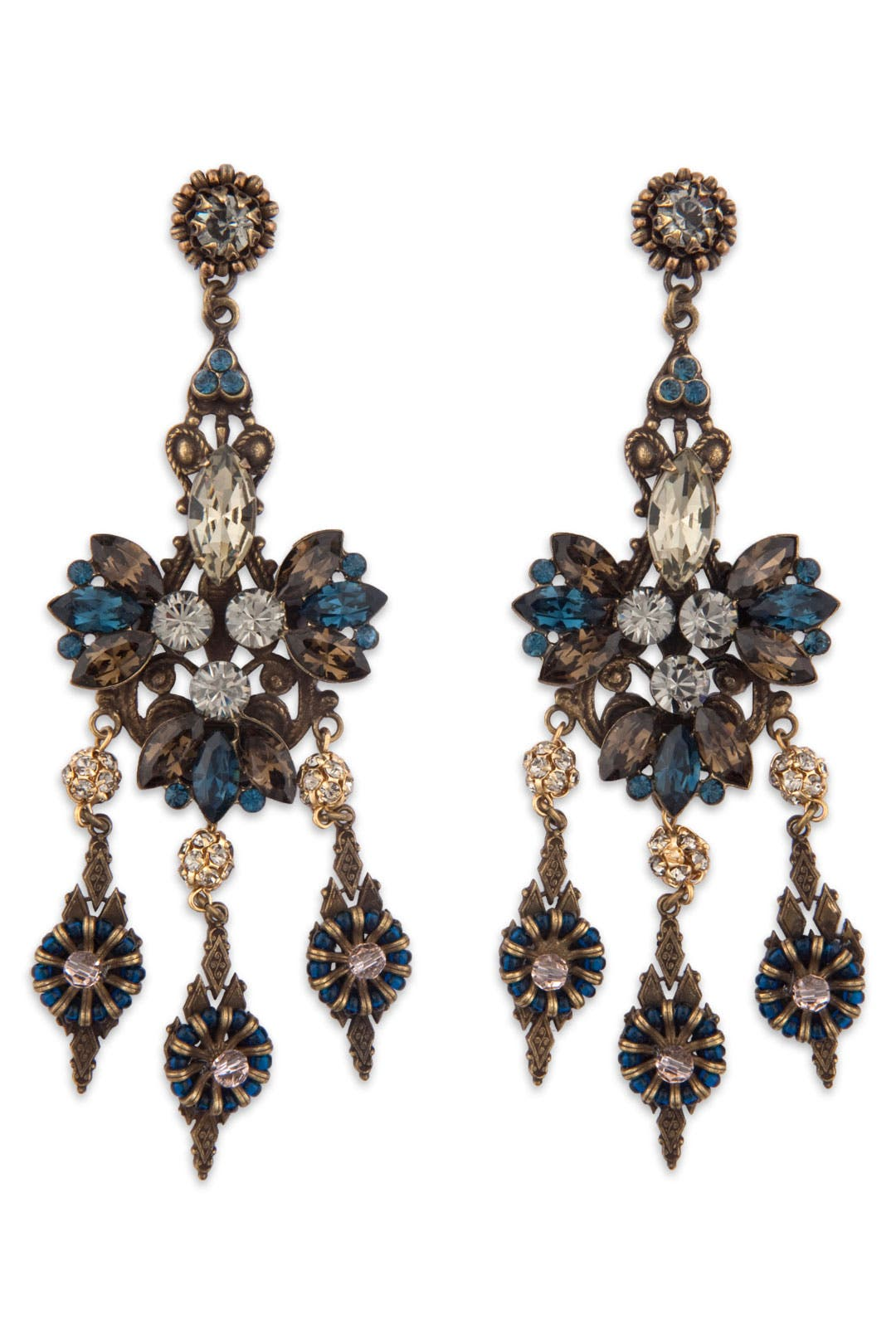 Antique Sapphire Chandelier Earrings by Miriam Haskell