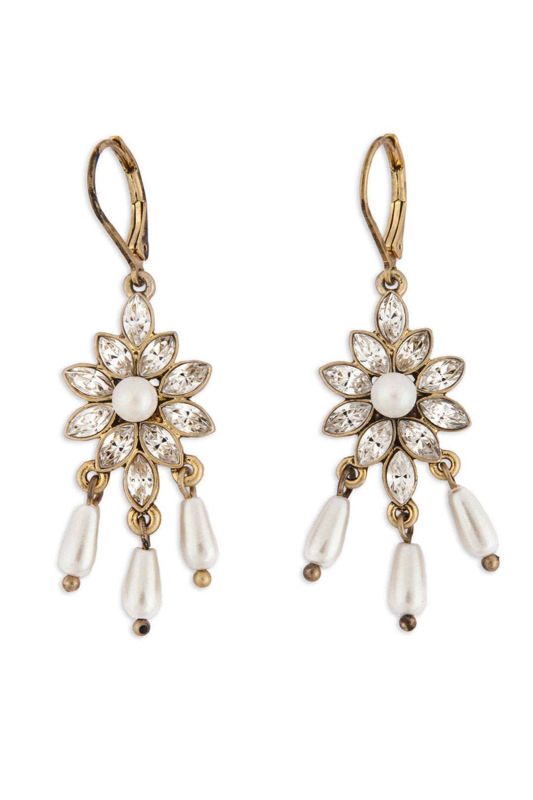 Delicate Pearl and Flower Earrings by Nicole Miller Accessories