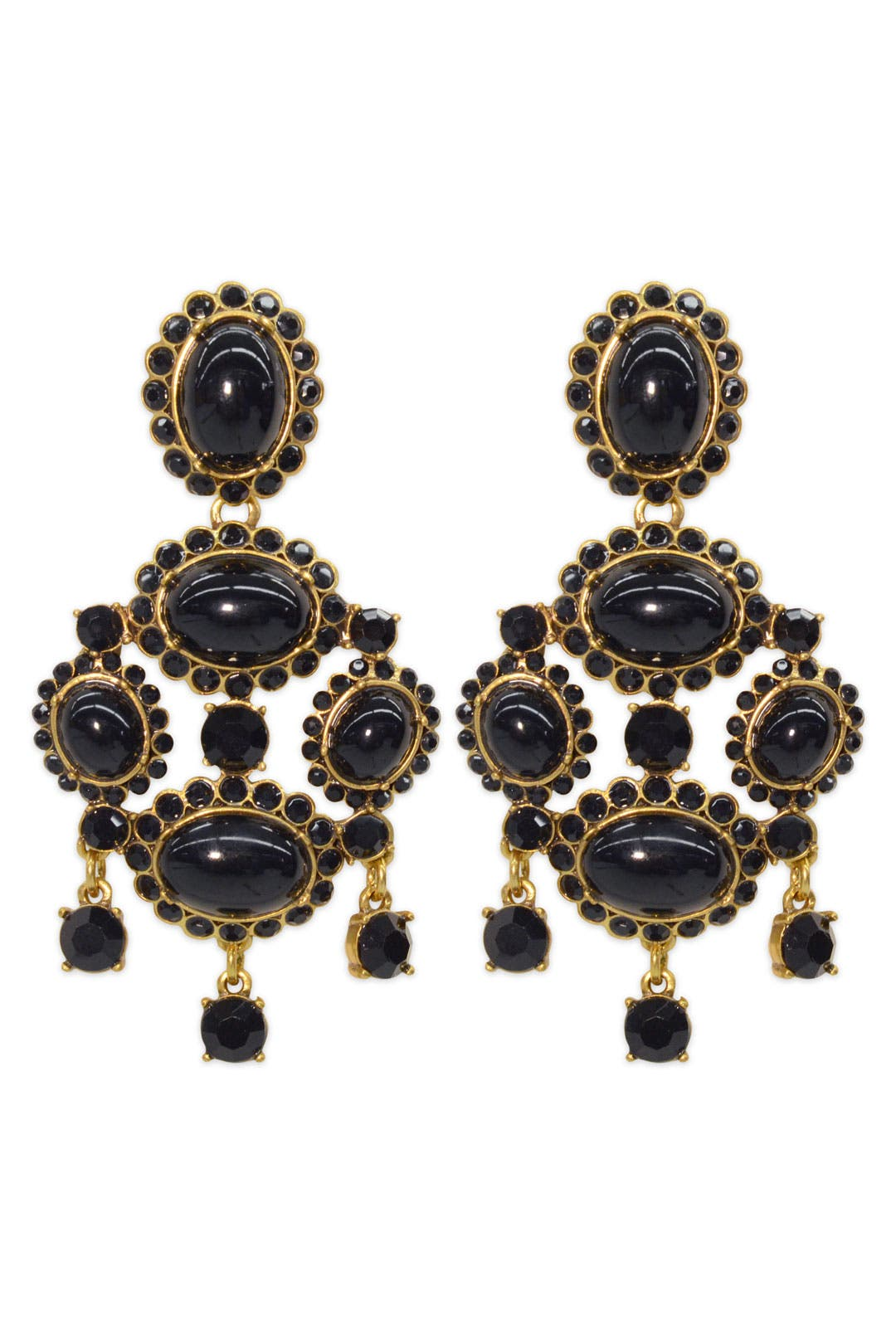 Black Ornate Earrings by Oscar de la Renta