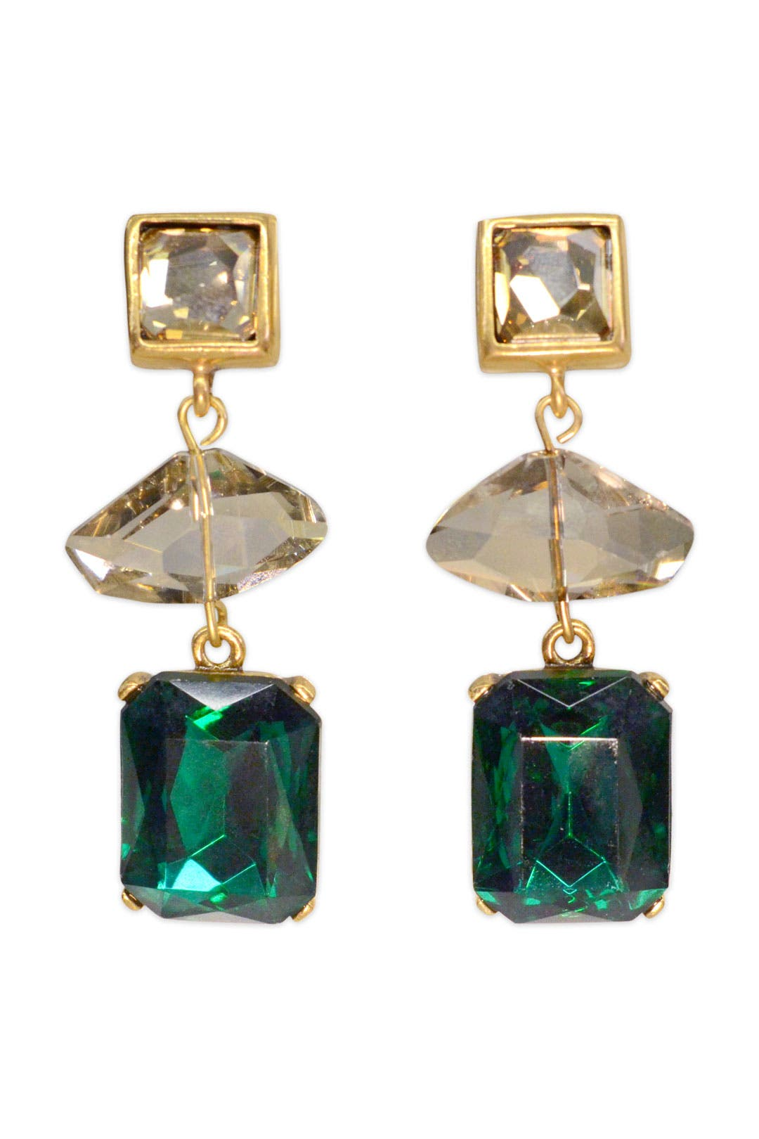 Moderne Emerald Earrings by Oscar de la Renta