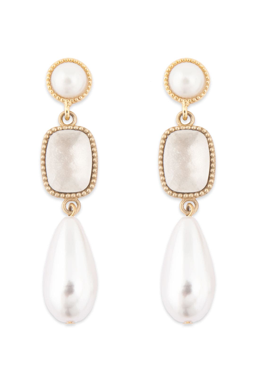 Society Pearl Tear Drop Earrings by Rachel Leigh