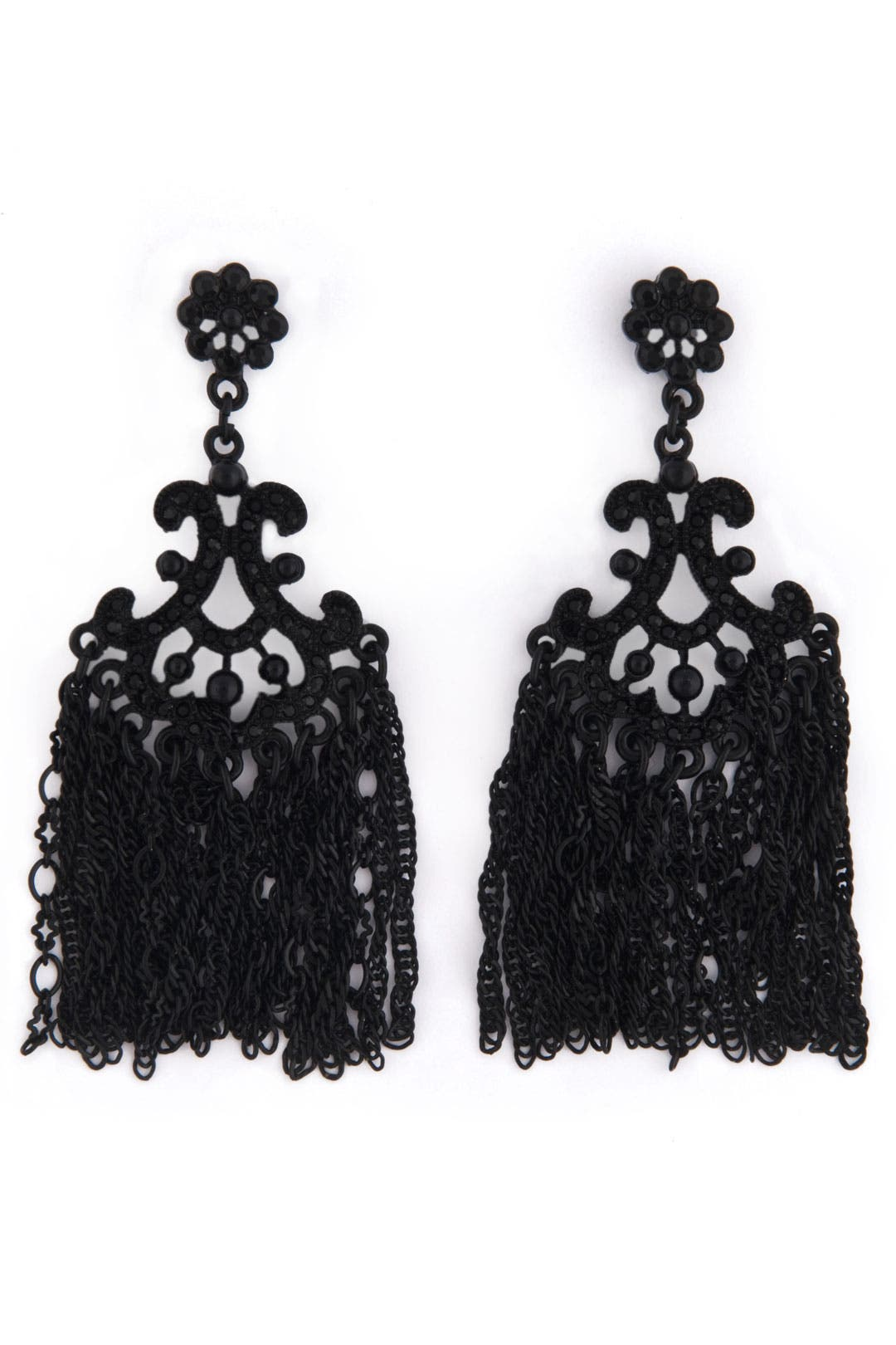 Jet Fringe Fan Earrings by Sequin