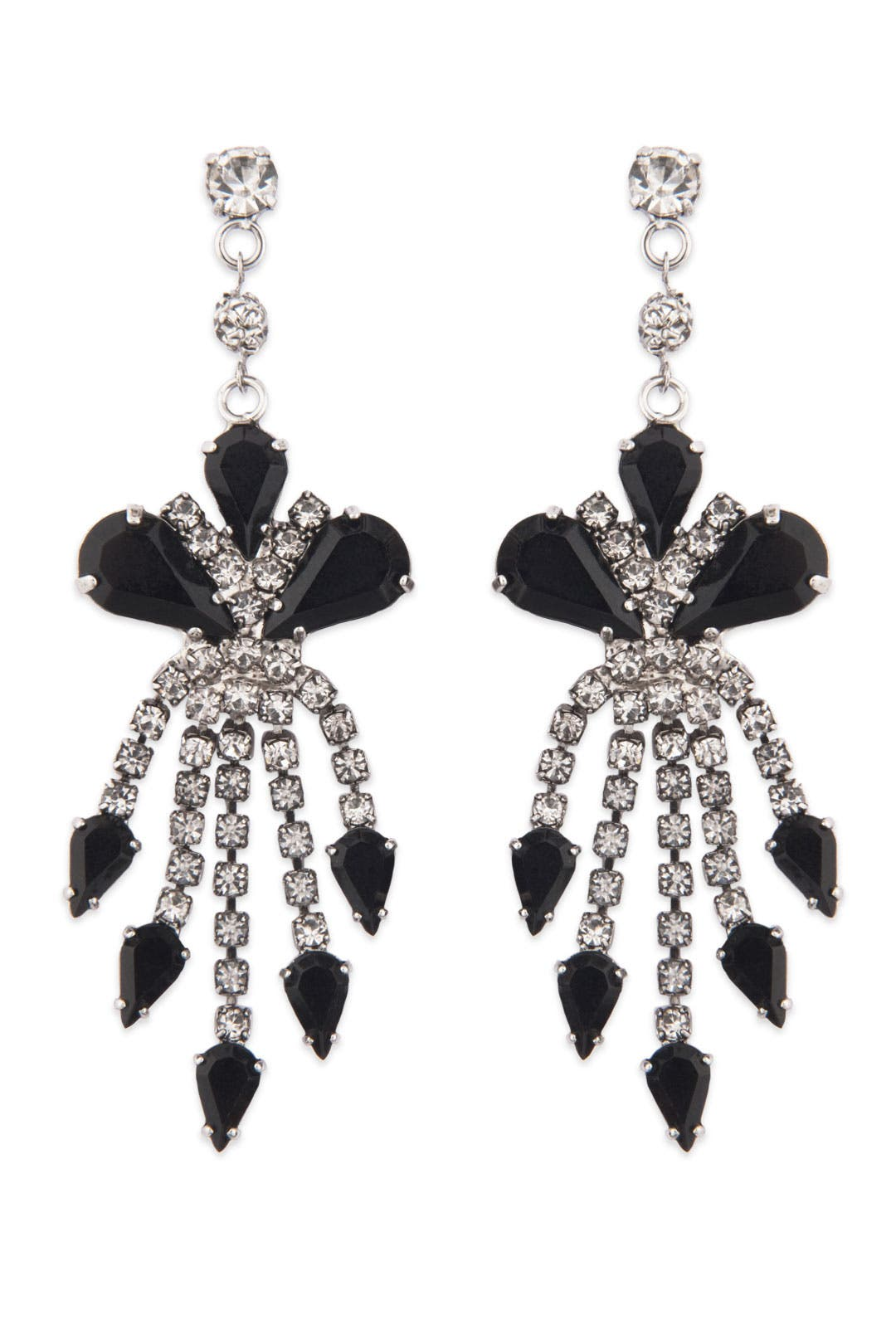 Black and Crystal Waterfall Earrings by Tom Binns