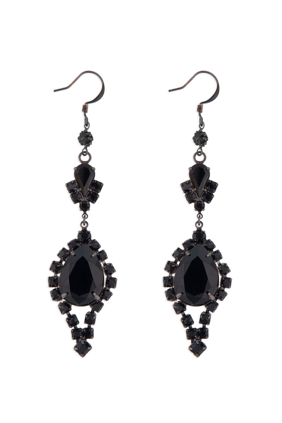Jet Crystal Earrings by Tom Binns