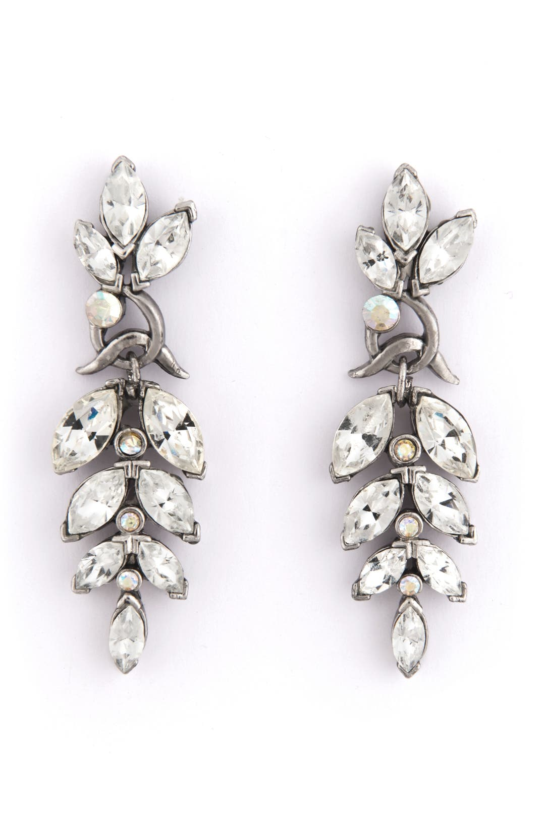 Crystal Leaf Earrings by Trudelle Laker
